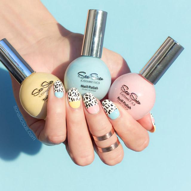 leopard print nails, sea siren sea mist