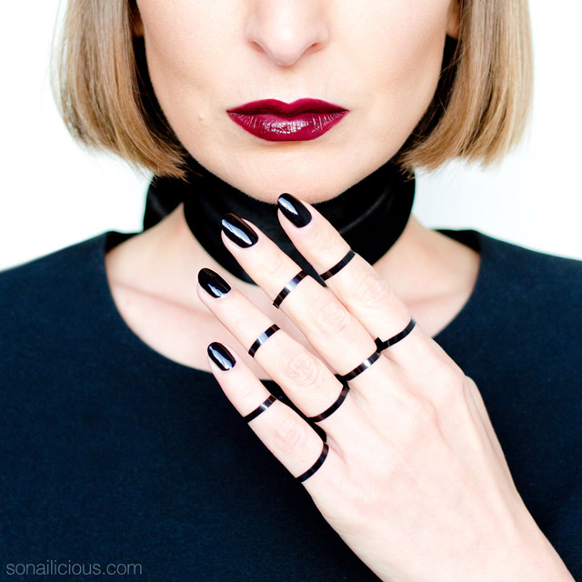 black lipstick, black nails