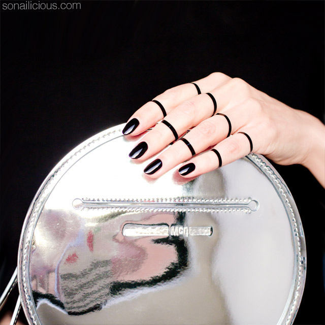 black nails, mirrored bag, mcqueen bag