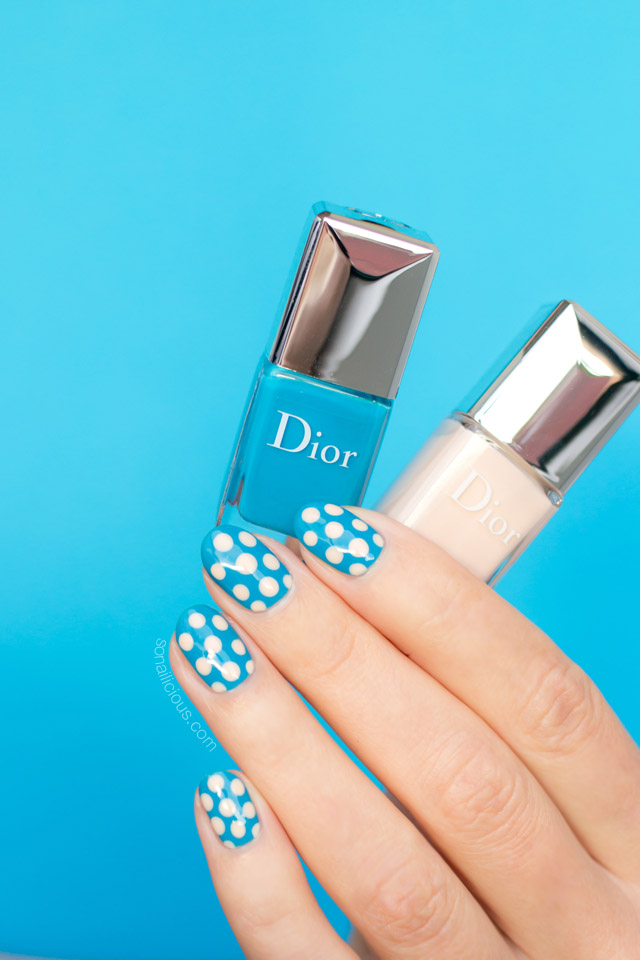 dior polka dots, blue nails, polka dot nails