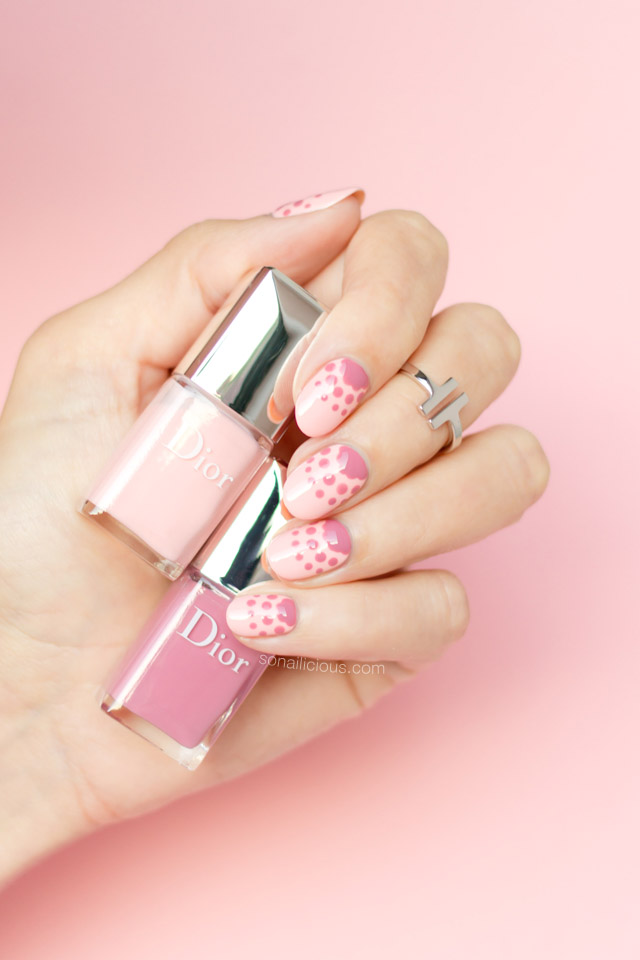 dior polka dots, pink nails, polka dot nails