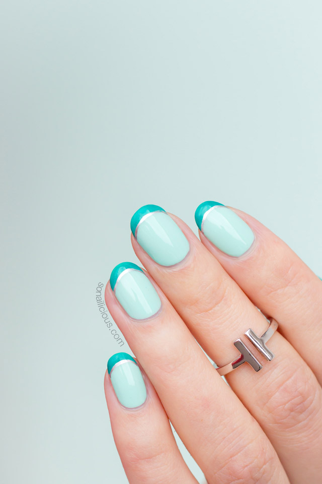 double french tip nails, mint nails - SoNailicious