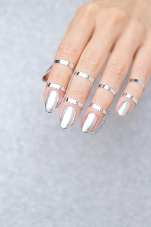 silver nails, mbfwa 2016 nails