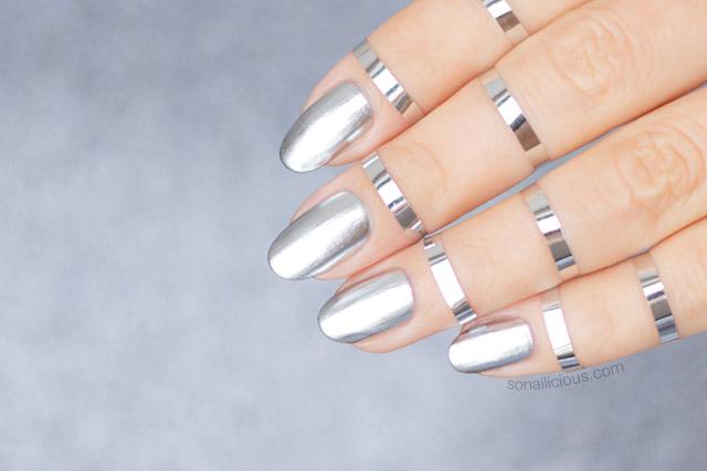 mirror nails, silver nails, fashion week australia