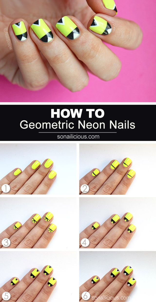 Geometric neon nails nail art tutorial neon nails how to neon nail art prinsesfo Image collections