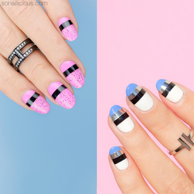 Patterns Using Tape Nail Art: 2 Mixed Media Easy Nail Designs [NAIL ART TUTORIAL]