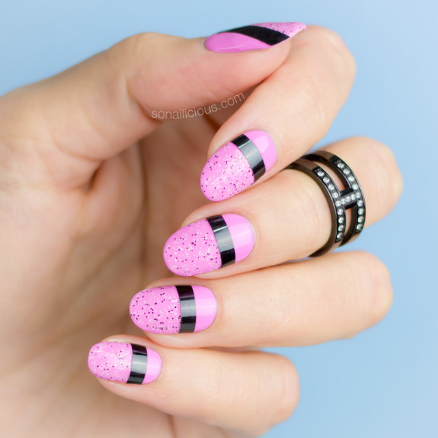 easy nail design, pink nails, nail art striping tape - Striking Pink Nails |2 Easy Nail Designs - SoNailicious