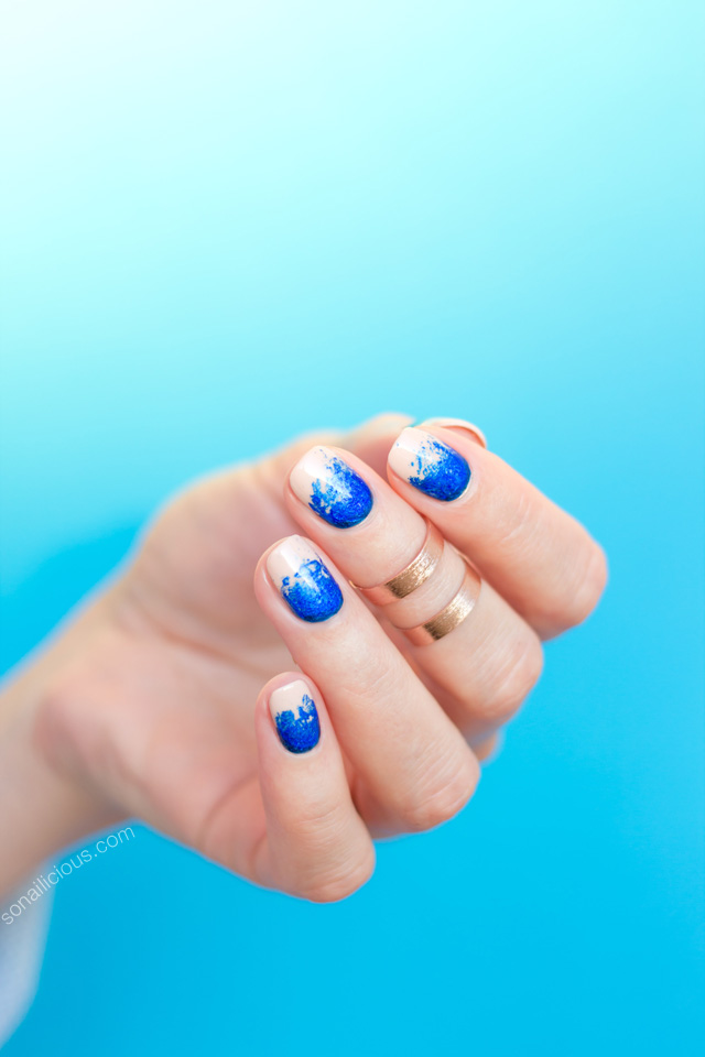 electric blue nails, nail art foil