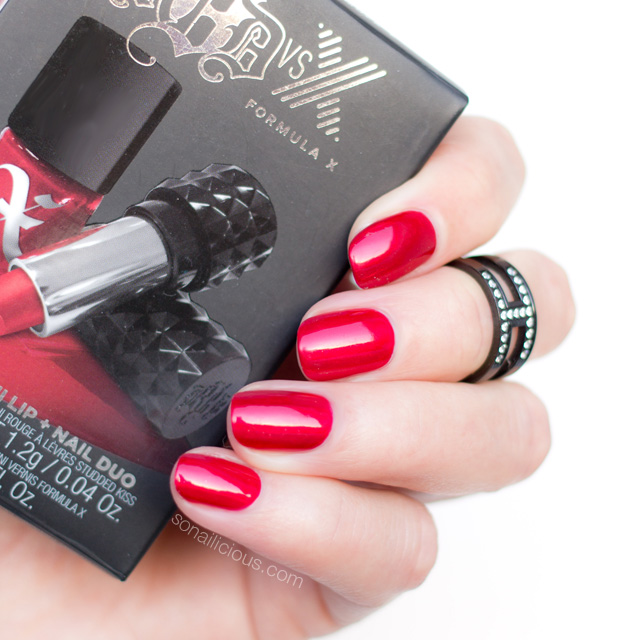 kat von d formula x nail polish, bright red nails