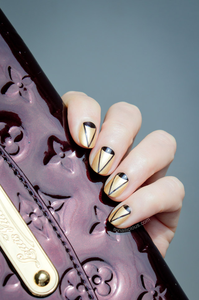 louis vuitton bag, gold nails