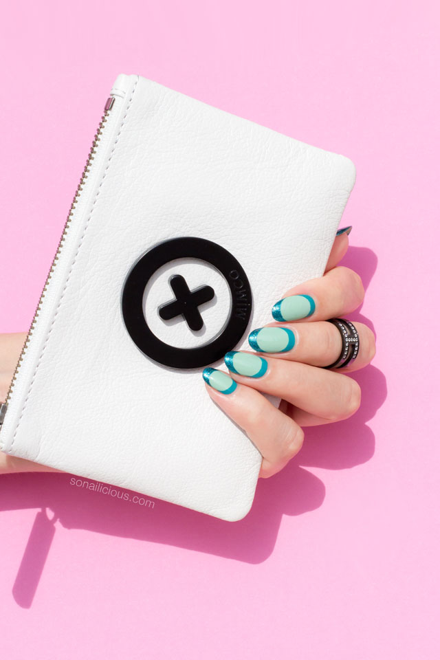 white mimco bag, mint nails