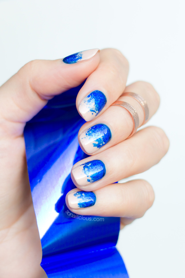nail foil, electric blue nails