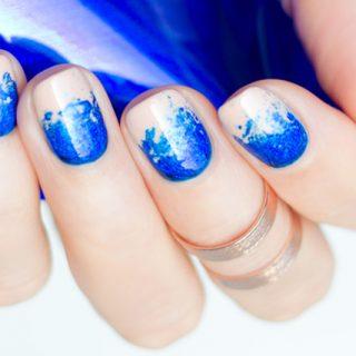 nail foil, foil nails, blue nails