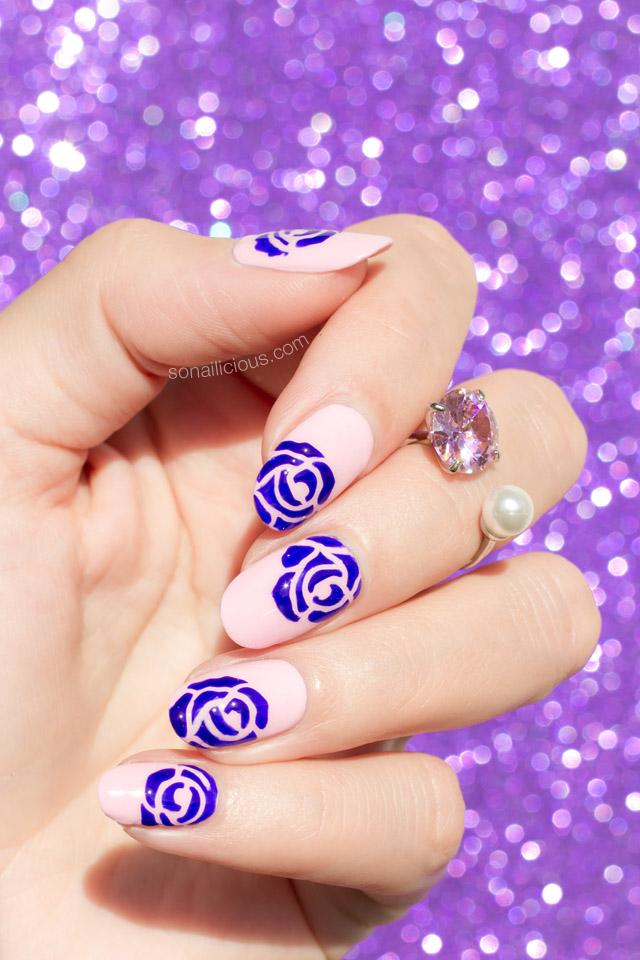 pink roses nail art