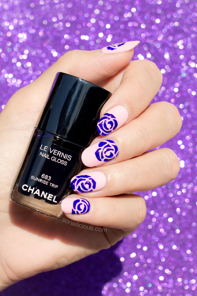 purple roses nail art, chanel sunrise trip