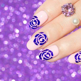 roses nail art, roses nails
