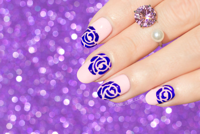 Effortless Purple Roses Nail Art Nails Of The Day