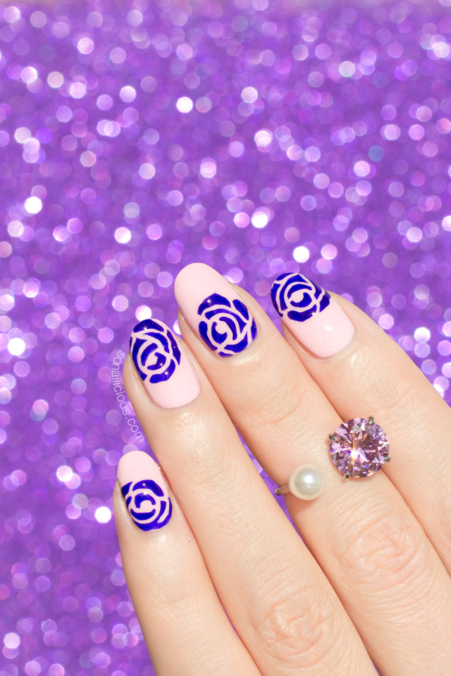Purple Roses Nail Art by @so_nailicious