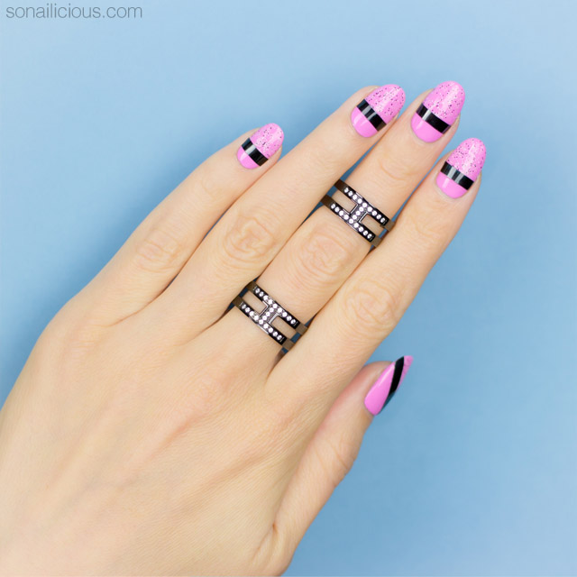 striping tape nail art, pink nails