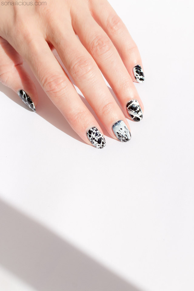 Stone Effect Black and White Nails [New Nail Art Technique!]