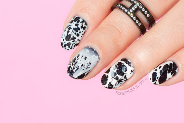 Stone Effect Black And White Nails New Nail Art Technique