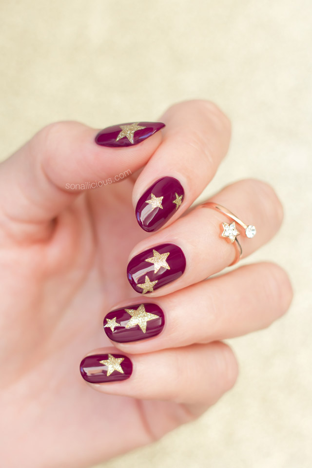 easy nail art, starry nails
