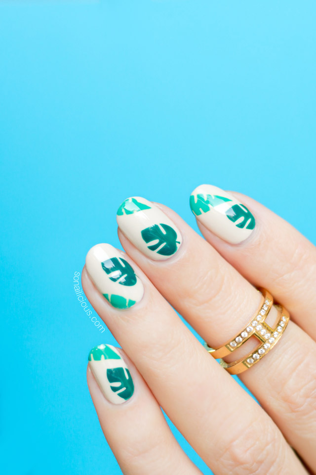 tropical nails, palm leaves nail art - Tropical Nails, Palm Leaves Nail Art - SoNailicious