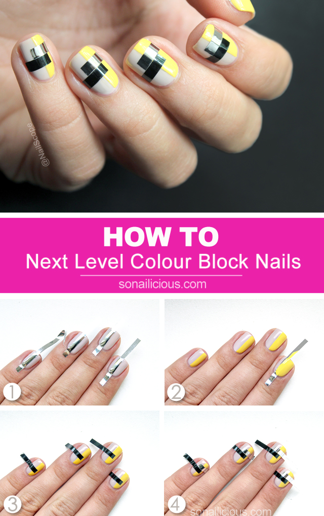 funky nail art, color blocking nails, nail art tutorial - SoNailicious