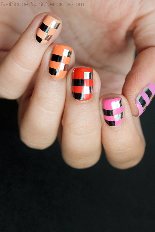 funky nail art, ombre nails, nail art striping tape - SoNailicious