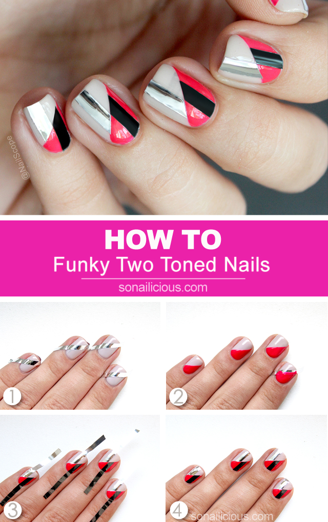funky nail art, two toned nails, nail art tutorial