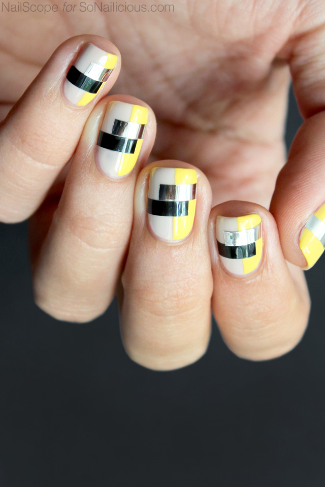 funky nail art, color blocking nails,