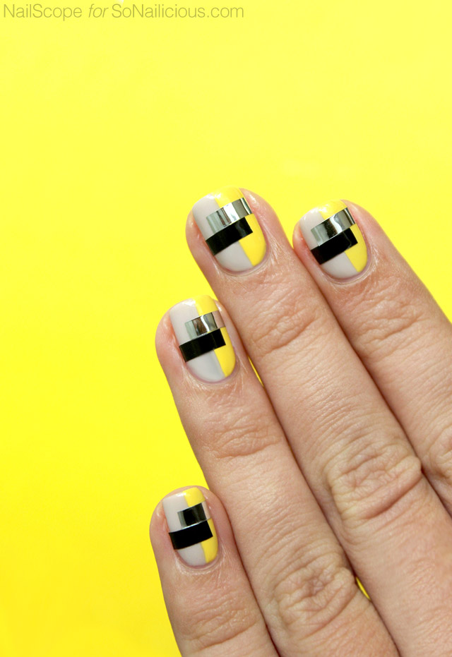 funky nail art, color blocking nails - SoNailicious