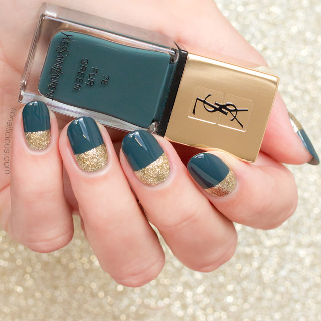 gold and green nails, ysl fur green
