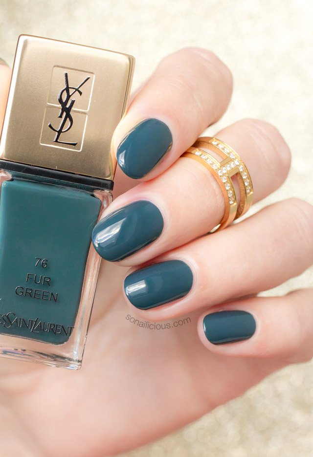 ysl fur green swatches review, green nails
