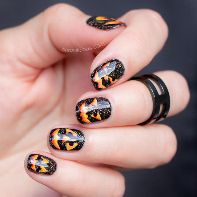pumpkin nail art, halloween nails - Pumpkin-nail-art-halloween-nails - SoNailicious