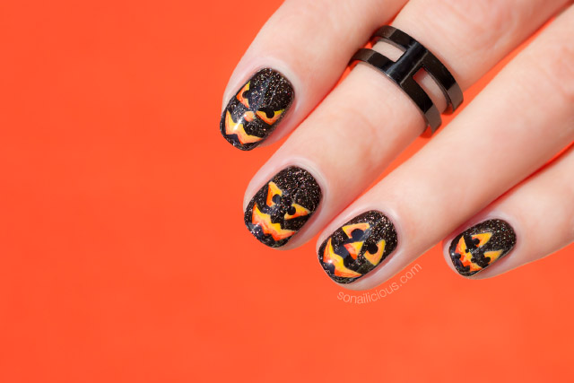 pumpkin nail art, halloween nails 2016