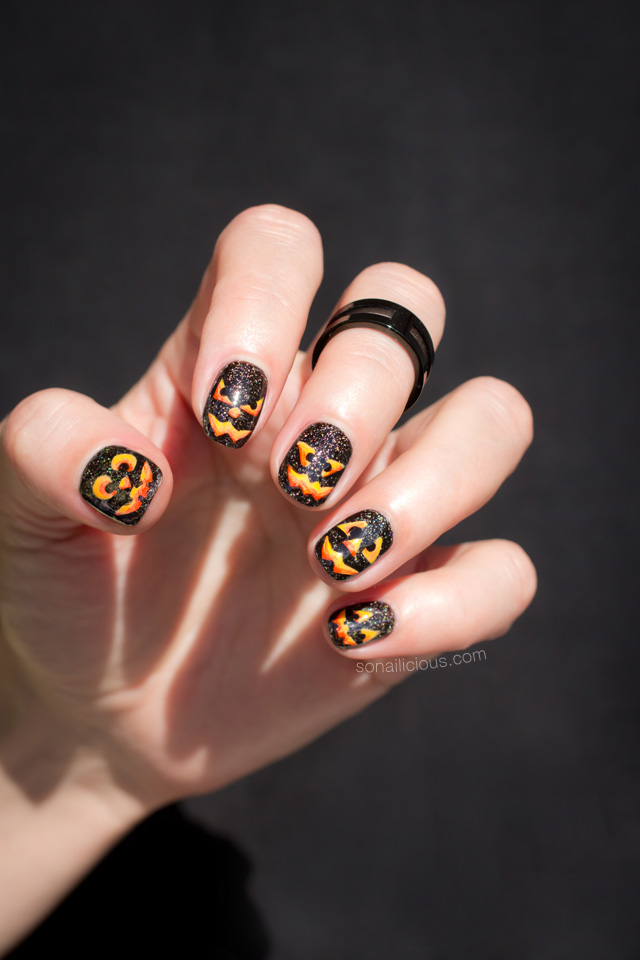pumpkin nail art, halloween nails - Pumpkin-nails-halloween-nail-art - SoNailicious