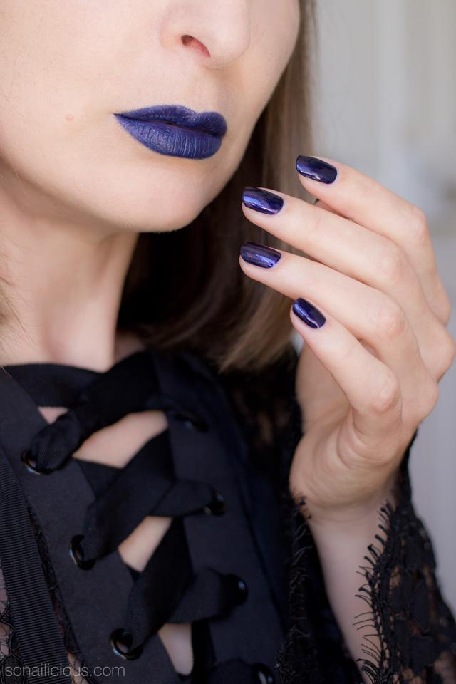 purple lipstick, halloween make up, kat von d poe