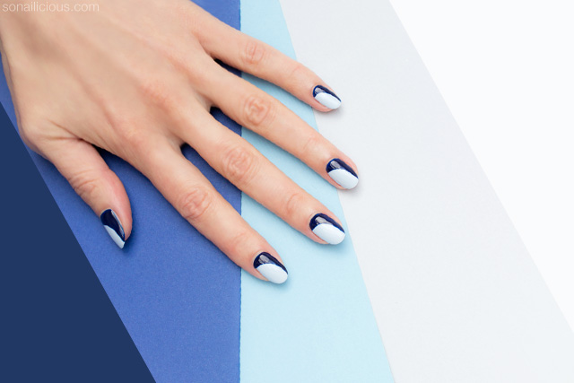 blue french manicure, french nails