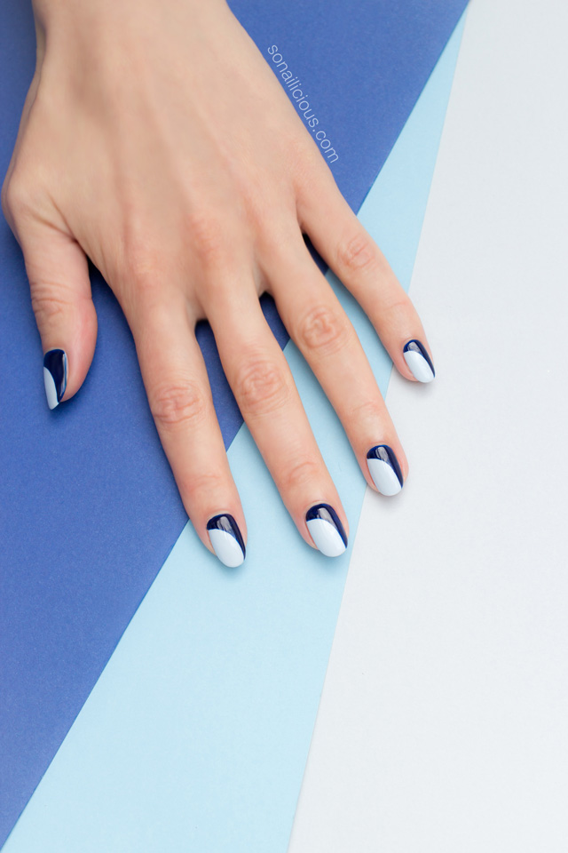 blue french manicure, french nails - SoNailicious