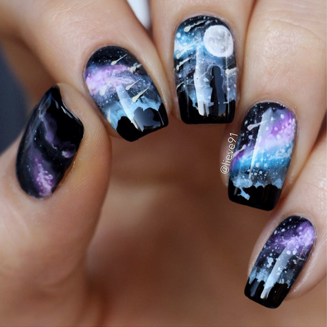 Girl watching meteor shower nails by Anja