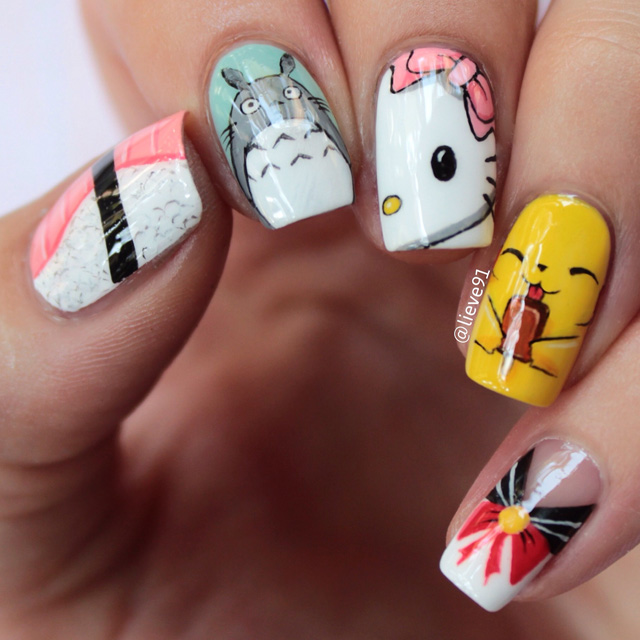 Kawaii Japanese Inspired nails by Anja