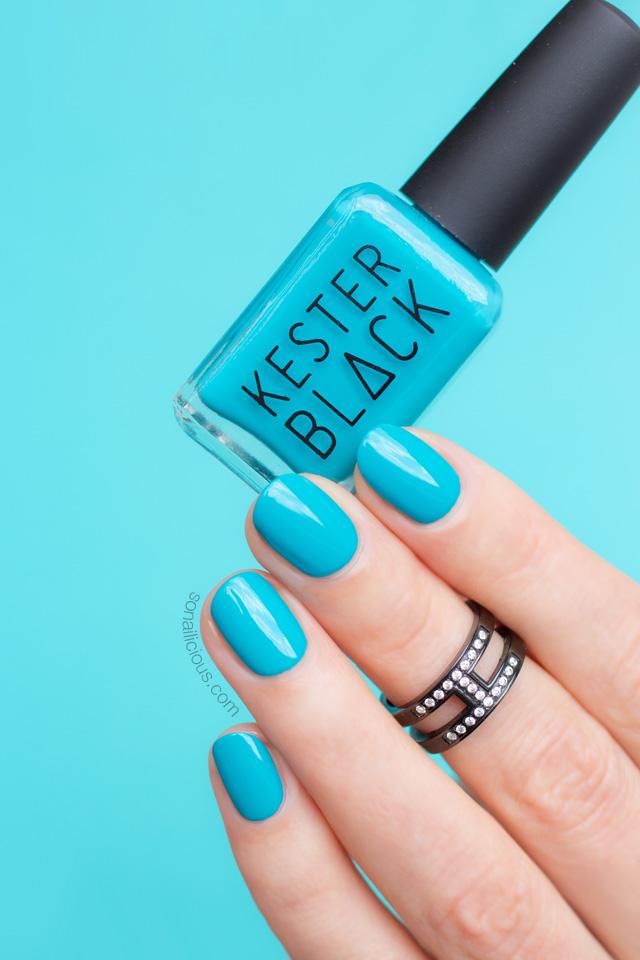 kester black terrarium, bright teal nails