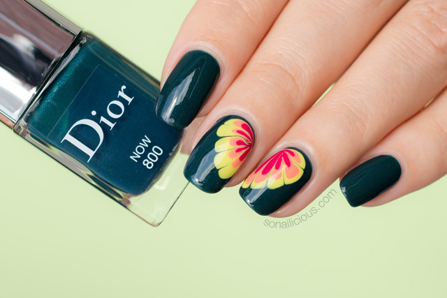 Dior Now nail polish swatch, flower nail design