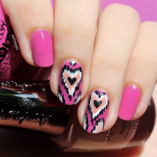 Ikat Valentine's Day Nails by @NailScope