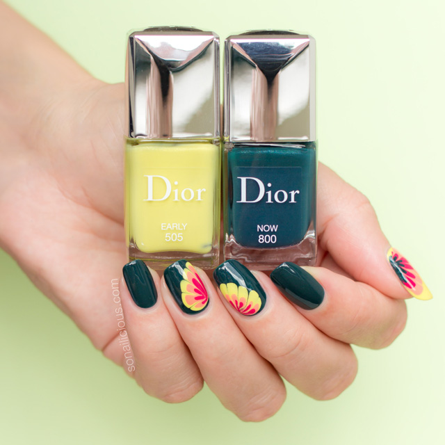 dior now and dior early swatches, spring nail art