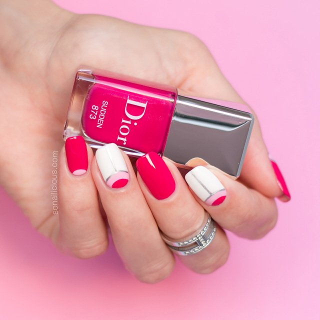 dior sudden swatch, pink nail design