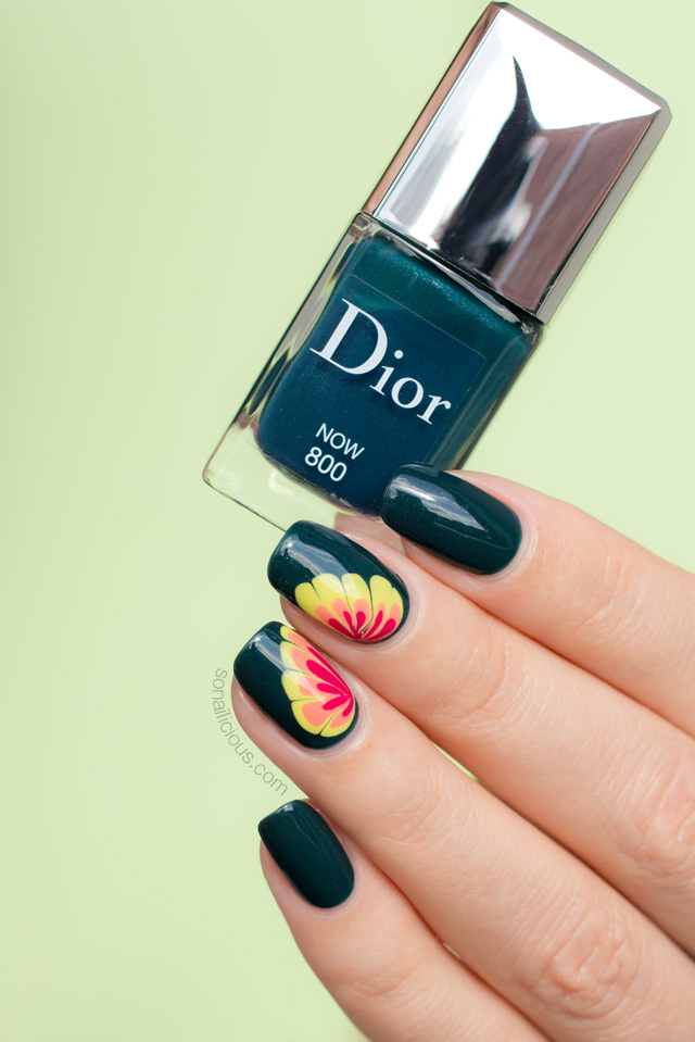 flower nail design, Dior Now swatch and review