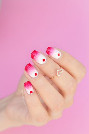 red and white valentines nails