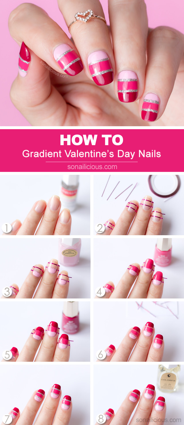 valentine's day nail art how to